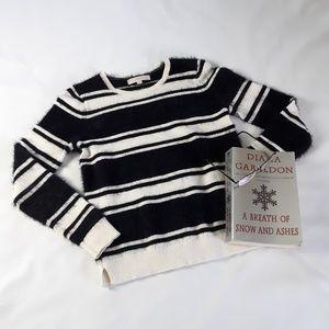 Loft Striped Fuzzy Hairy Unique Sweater small